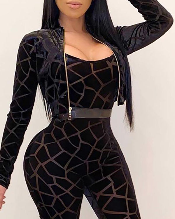 Geometry Print Skinny Jumpsuit & Zipper Design Long Sleeve Coat Set