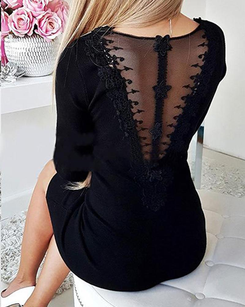 V Neck Zipper Bodycon Mini Dress