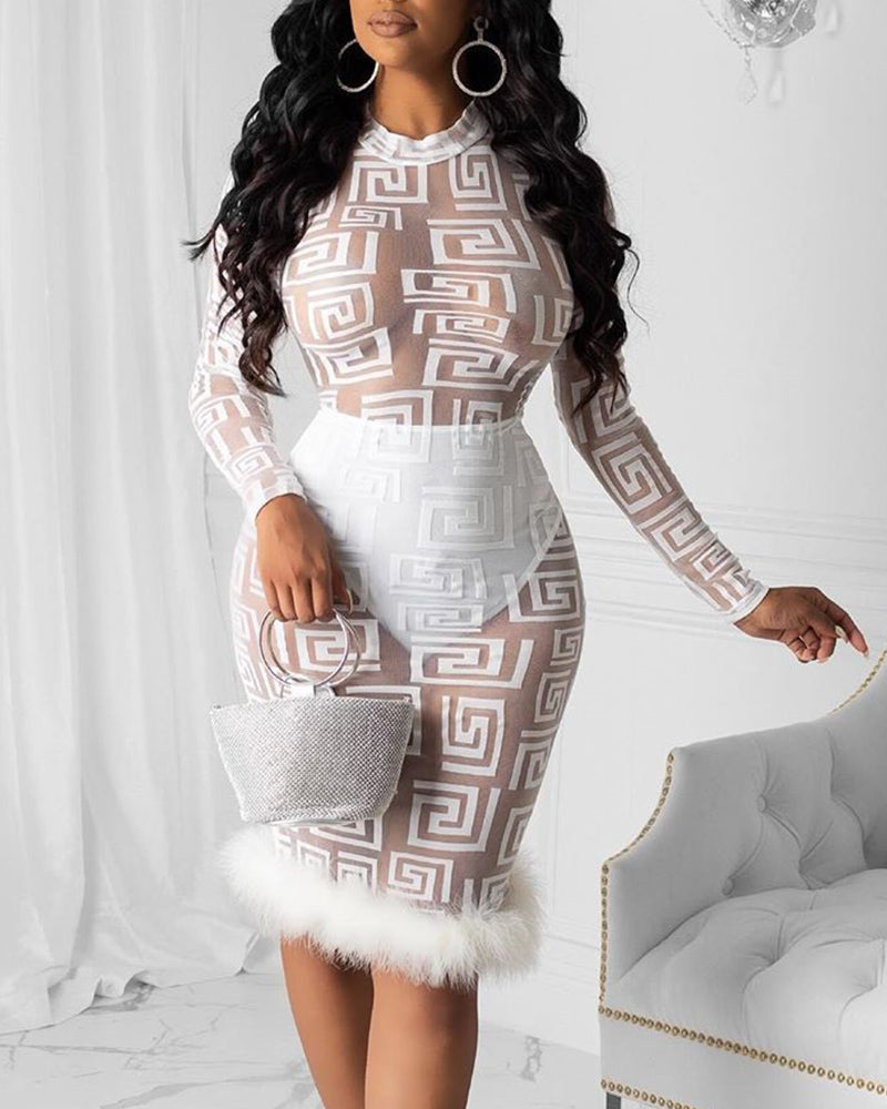 Fur Trim Mesh Bodycon Dress