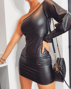 One Shoulder Leg-of-Mutton Sleeve PU Bodycon Dress