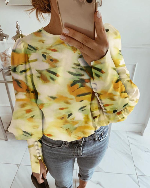 Abstract Print Lantern Sleeve Blouse
