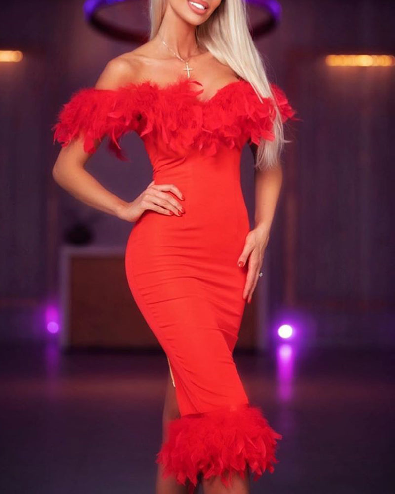 Solid Off Shoulder Feather Insert Bodycon Dress