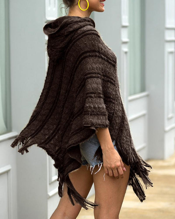 Plain Tassel Design Cape Sweater