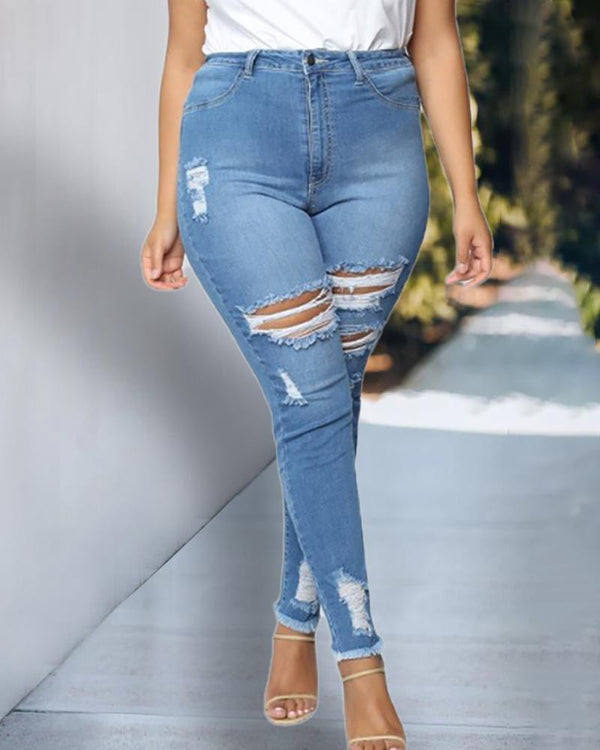 Plus Size Cutout Ripped Jeans
