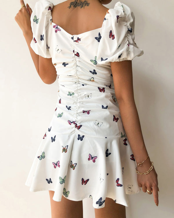 Butterfly Print Ruched Puffed Sleeve Mini Dress