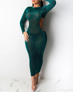 Glitter Cut Out Long Sleeve Dress