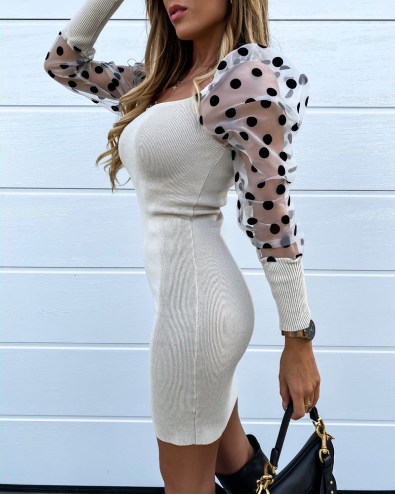 Square Neck Puff Sleeve Polka Dot Mesh Insert Bodycon Dress