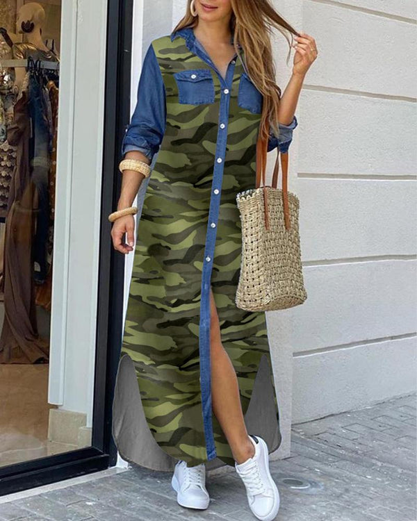 Camouflage Denim Buttoned Slit Shirt Dress