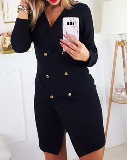 V-Neck Double-breasted Slit Blazer Dress