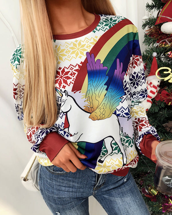 Christmas Horse Rainbow Print Long Sleeve Sweatshirt