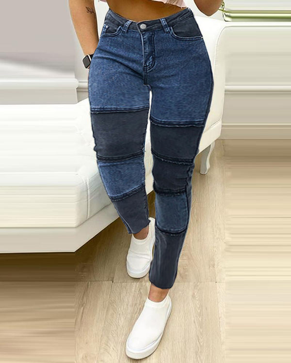 Colorblock High Wasit Skinny Jeans