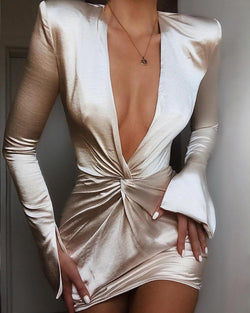 Plunge Twisted Design Slit Cuff Dress