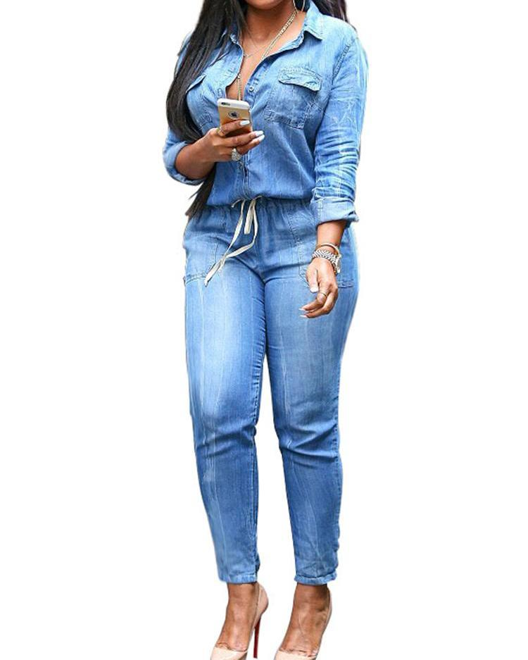 Women Long Sleeve Slim Fit Denim Jumpsuit