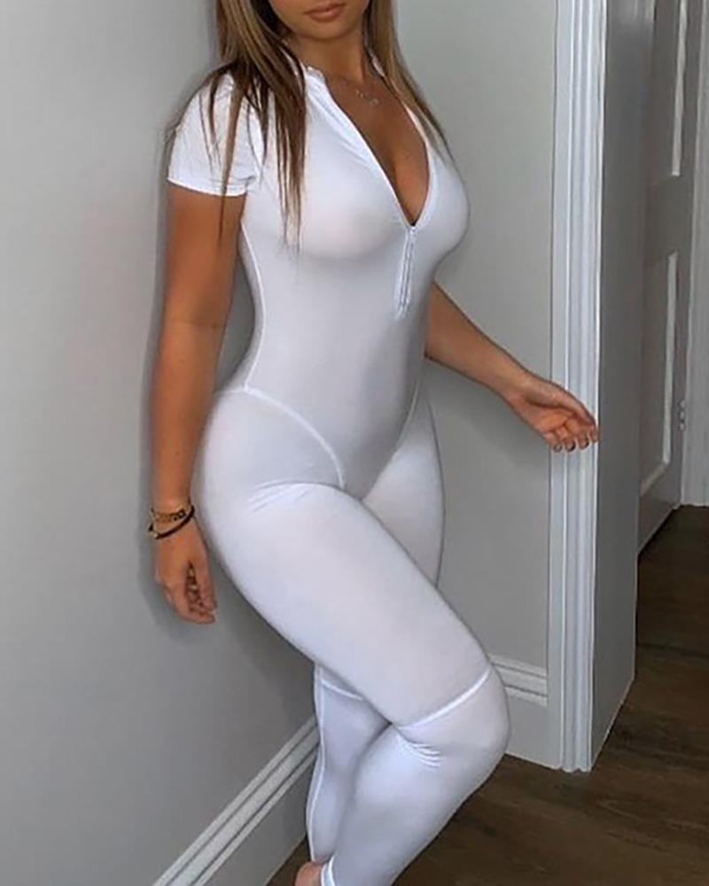 Solid Zipper Design Short Sleeve Fitted Jumpsuit
