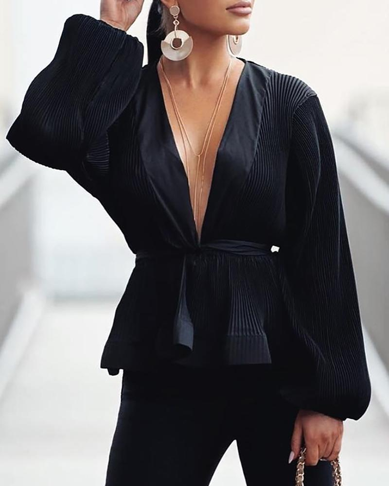 Solid Ribbed Tight Wasit Long Sleeve Blouse