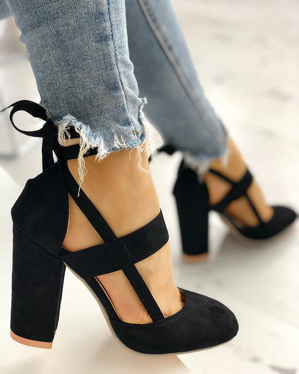 Fashion Caged Chunky Heels Shoes