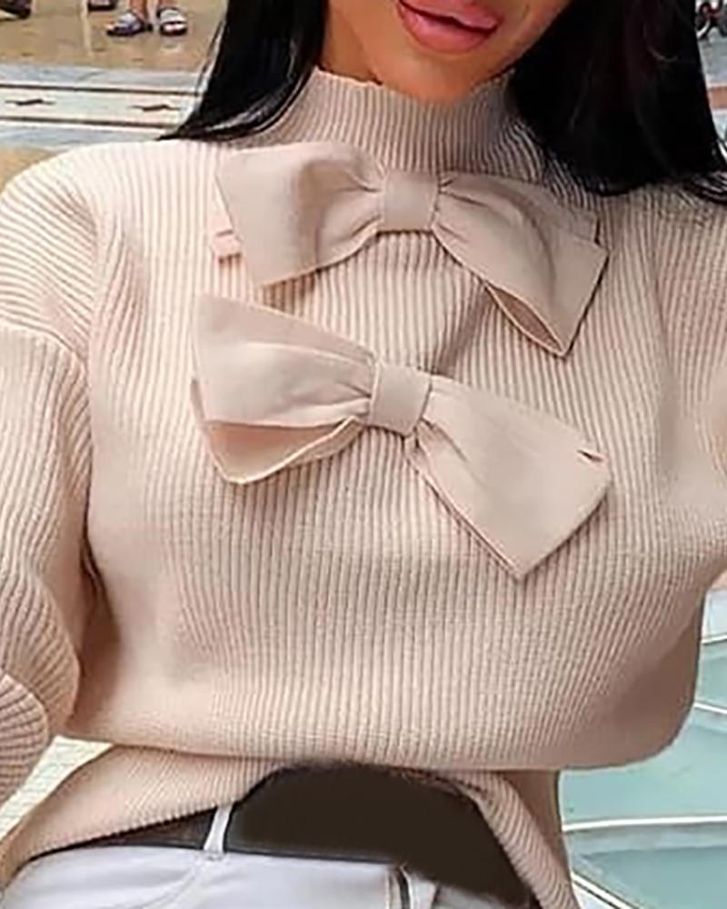 Solid Ribbed Long Sleeve Casual Sweater