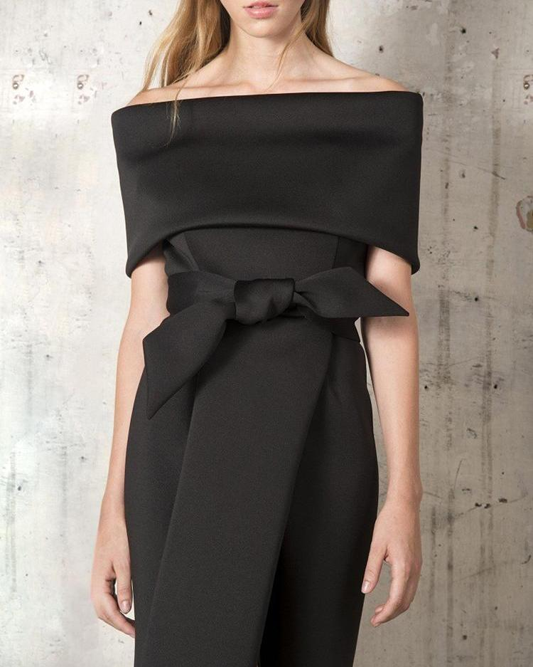 Fold Over Off Shoulder Belted High Slit Dress