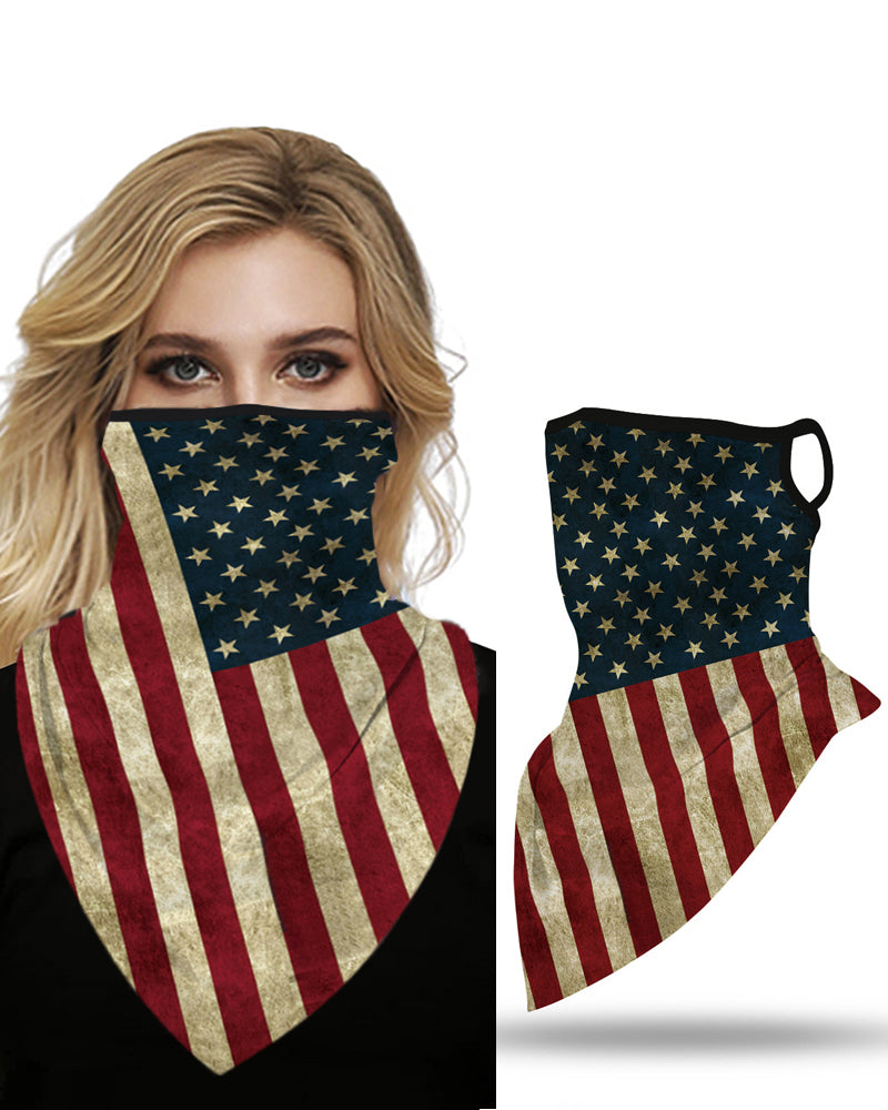 Flag Print Breathable Ear Loop  Face Cover Windproof Motorcycling Dust Outdoors