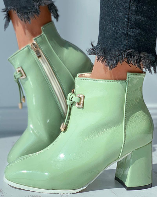 Zipper Design Tied Detail Chunky Boots