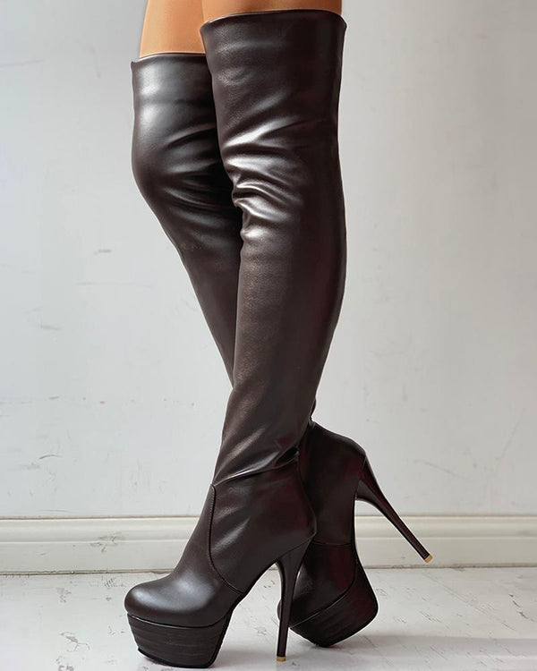 Pointed Toe Over Knee Stiletto Heeled Boots