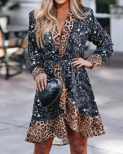Star Leopard Print Insert Irregular Dress