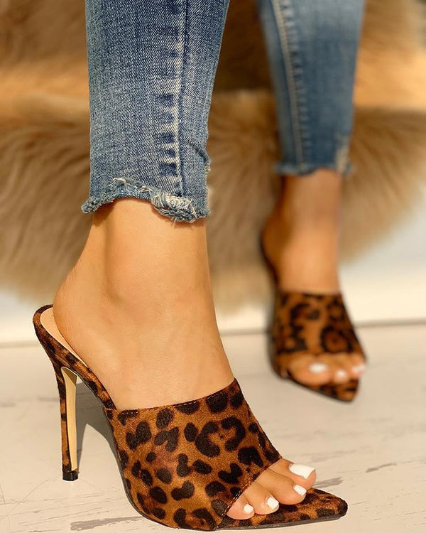 Leopard Open Toe Thin Heeled Sandals