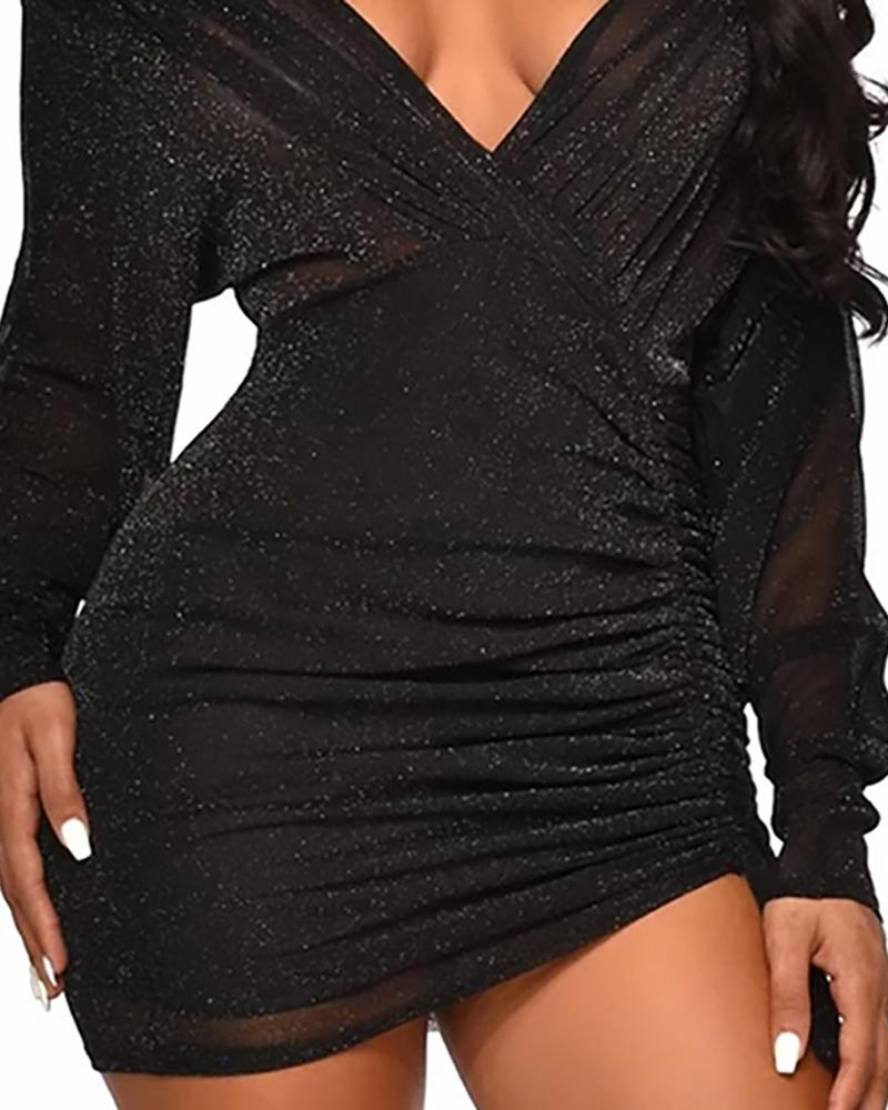 Glitter Ruched Design Bodycon Dress