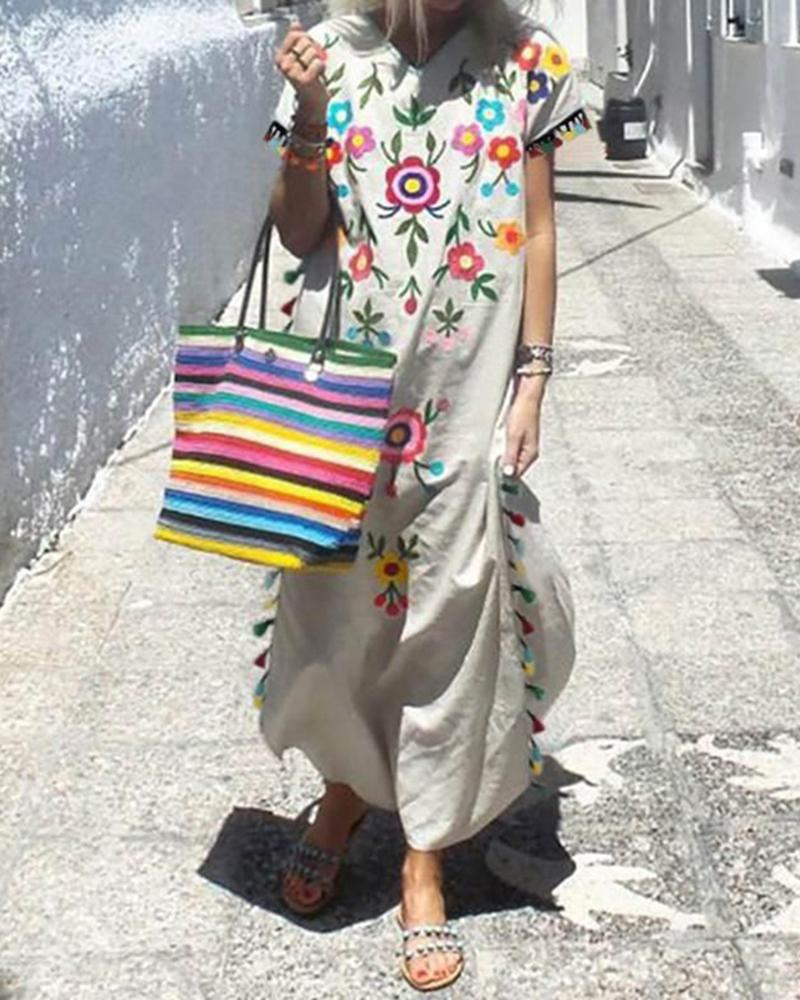 Print Short Sleeve Tassel Side Maxi Dress