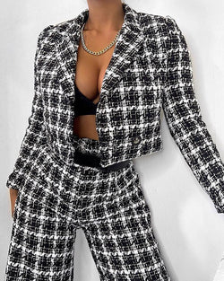 Grid Print Jacket & Pants Suit Set