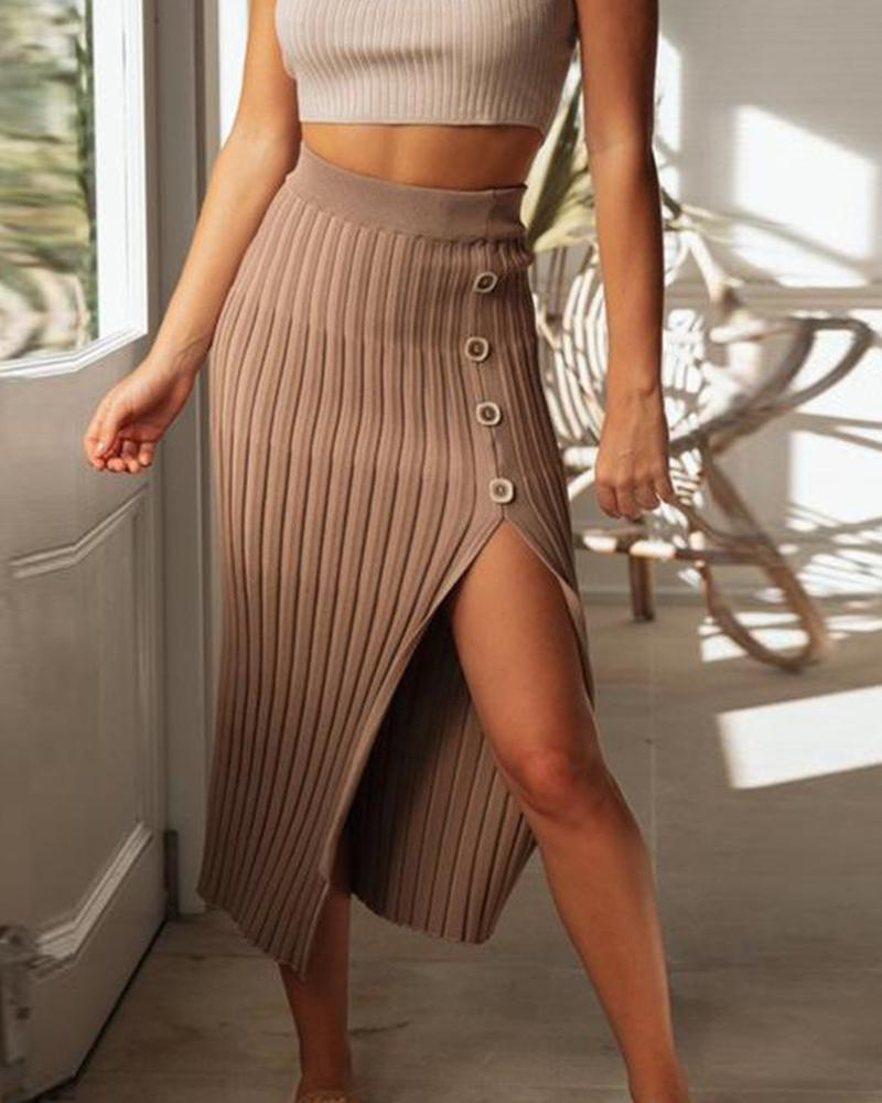 Ribbed Side Slit Midi Dress