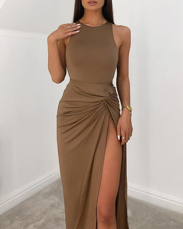 High Slit Ruched Solid Maxi Dress