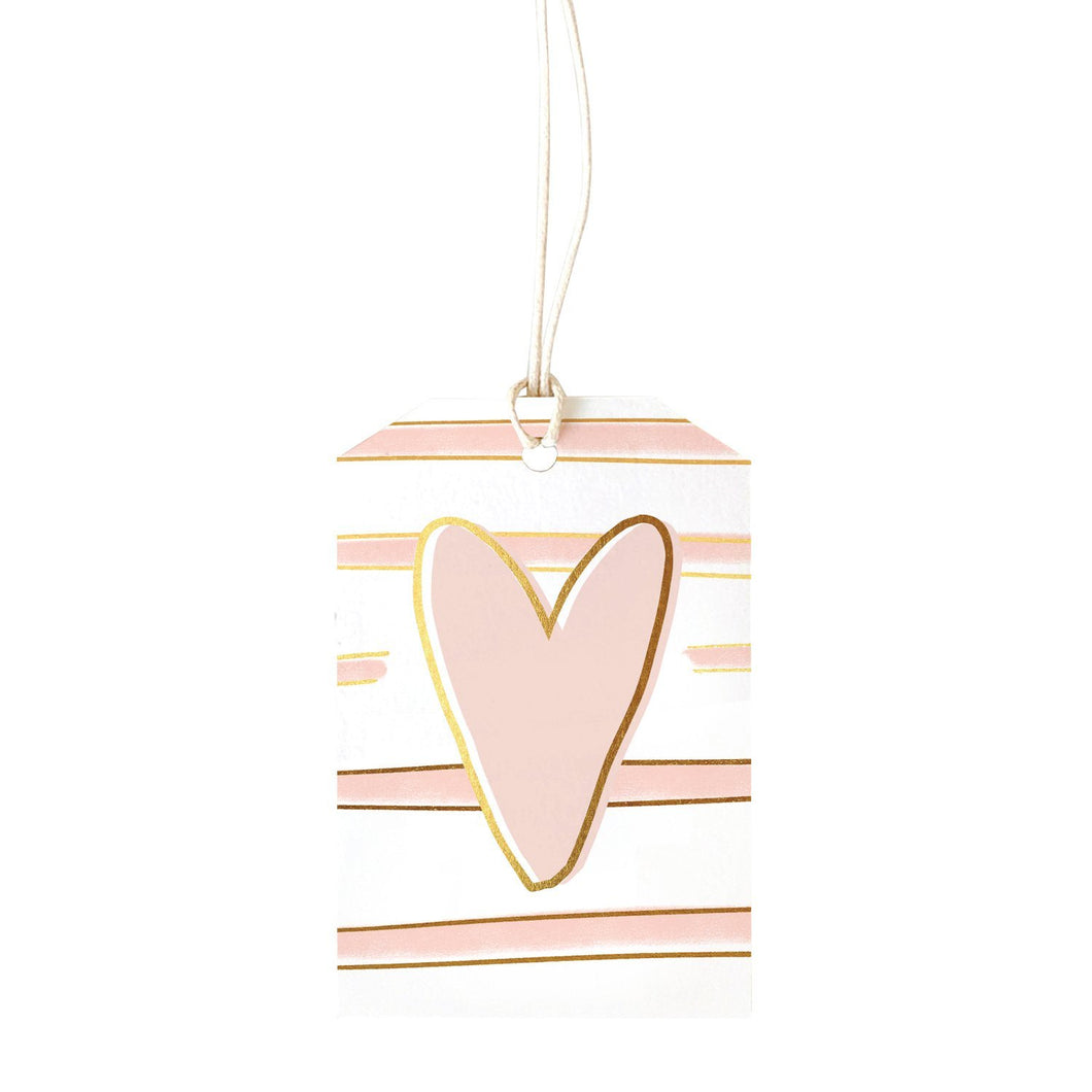 Stripe Blush Heart Gift Tag