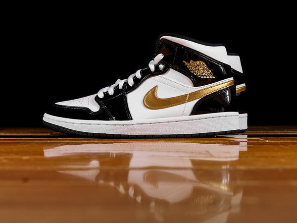 Men's Air Jordan 1 Mid 'Patent Gold' [852542-007]