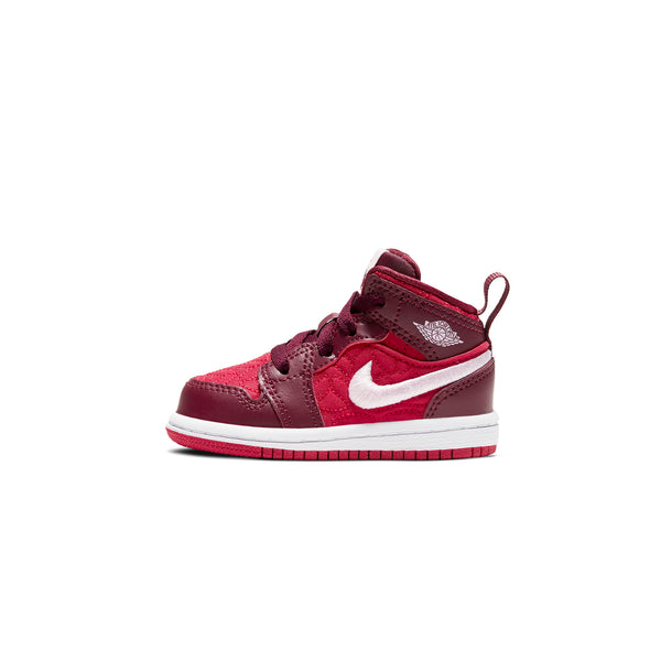 Air Jordan 1 Infants Mid SE 'Red Quilt' TD Shoes