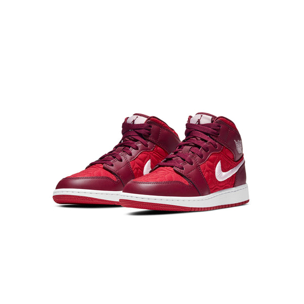 Air Jordan Kids 1 Mid SE 'Red Quilt' GS Shoes