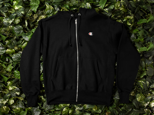 Men's Champion Reverse Weave Fleece Zip Hoodie [GF69-BKC]