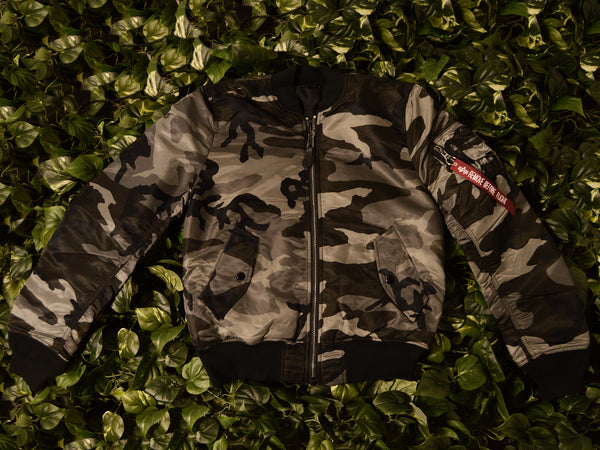 Men's Alpha Industries 'Black Camo' MA-1 Flight Jacket [MJM44530C1-BCM]