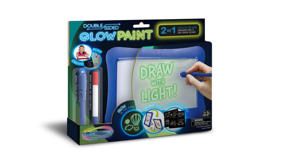 Double-Sided Glow Paint Board 2 in 1 Glow in The Dark Drawing Pad and Dry Erase Board with Light Up Black Light Pen and Dry Erase Marker (Blue)