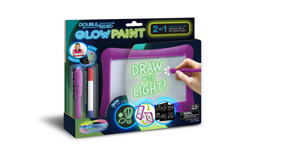 Double-Sided Glow Paint Board 2 in 1 Glow in The Dark Drawing Pad and Dry Erase Board with Light Up Black Light Pen and Dry Erase Marker (Purple)