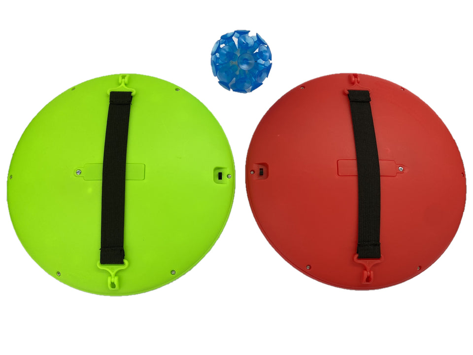 PaddleBritez 2 in1 Light Up Paddle Ball Game and Frisbee (Red/Green)