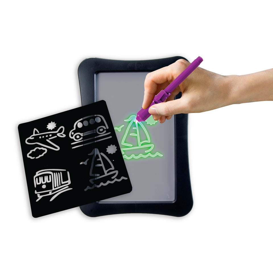 Double-Sided Glow Paint Board 2 in 1 Glow in The Dark Drawing Pad and Dry Erase Board with Light Up Black Light Pen and Dry Erase Marker (Black)