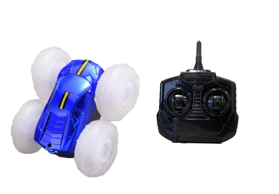 Turbo Twister Flip Racer Bright LED Light Up Stunt RC Remote Control Blue Vehicle