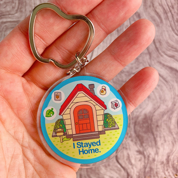 Animal Crossing I Stayed Home Acrylic Key Chain
