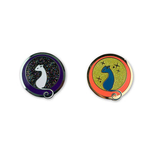 Cool Cat Neon and Cosmic Night Edition Enamel Pin - Heremeow Logo