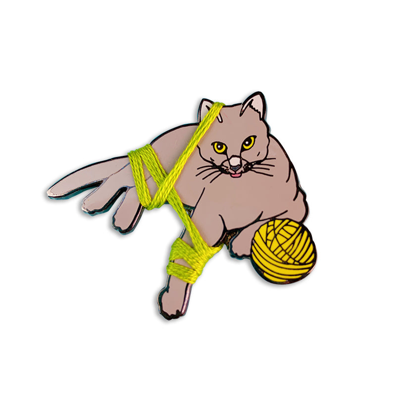 Yarn Cats Enamel Pin with String