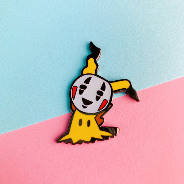 Mimikyu & No Face Mash-up Enamel Pin Glow