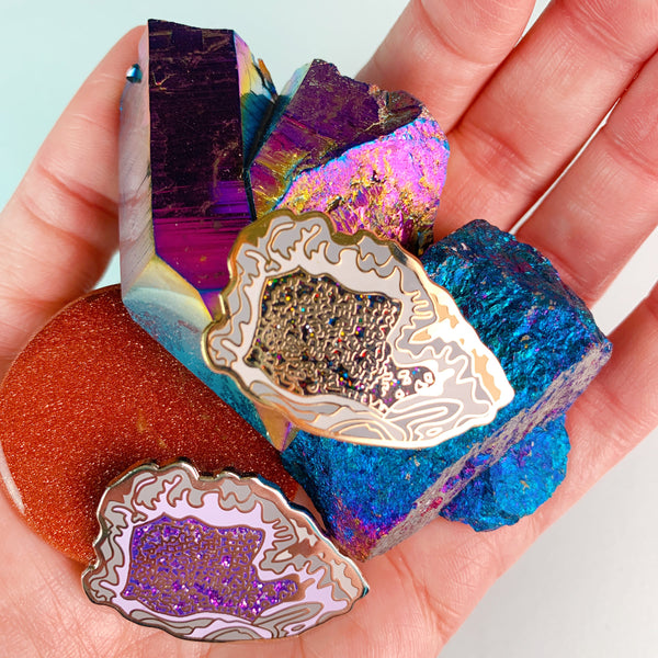 Geode Rock Enamel Pins
