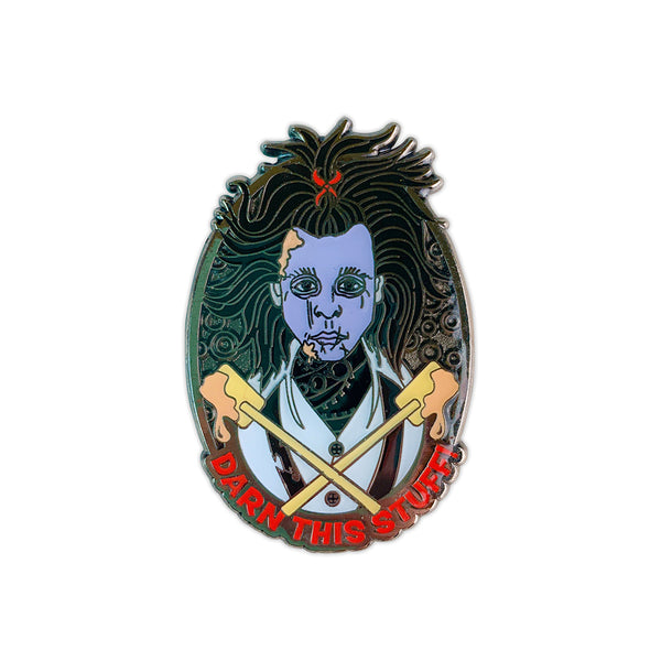Edward Scissorhands Darn This Stuff Enamel Pin by April Moreno