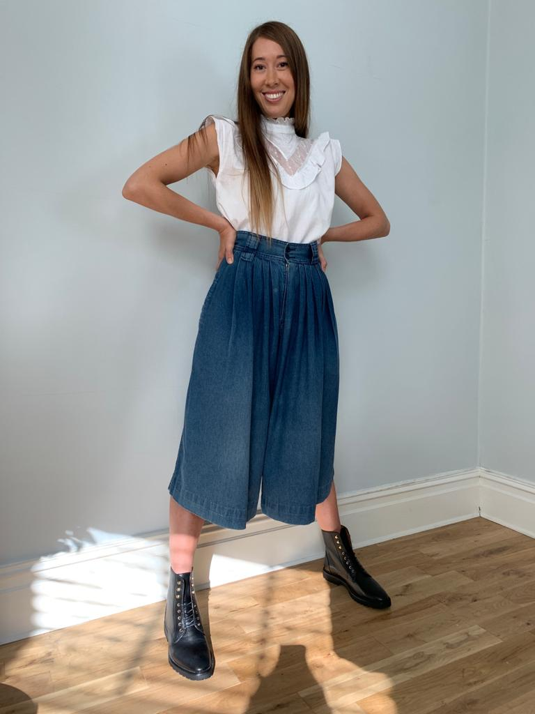 Vintage 1970's high waisted denim culottes